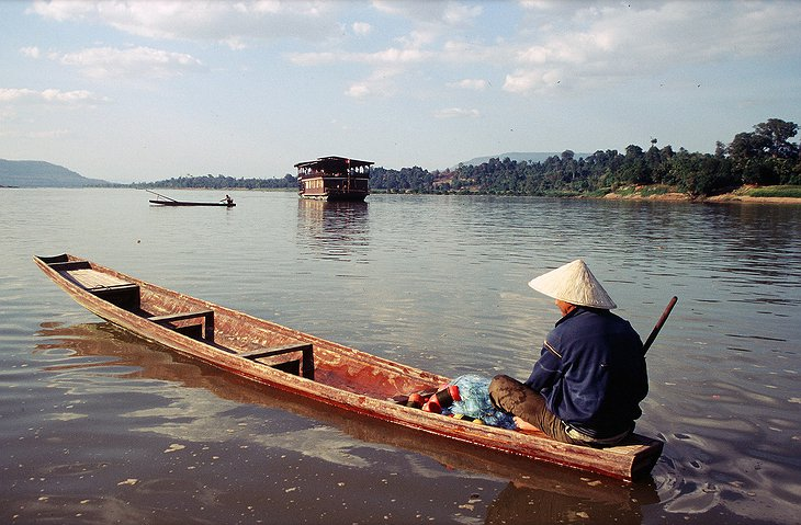 Vat Phou Boat on the Mekong