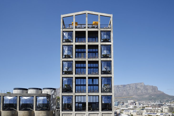 The Silo Hotel Exterior facade, industrial building mixed with modern architecture