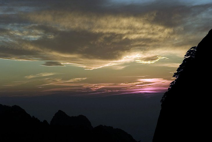 Mt. Huangshan at sunset