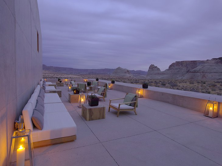 Amangiri Villas terrace with view to the desert