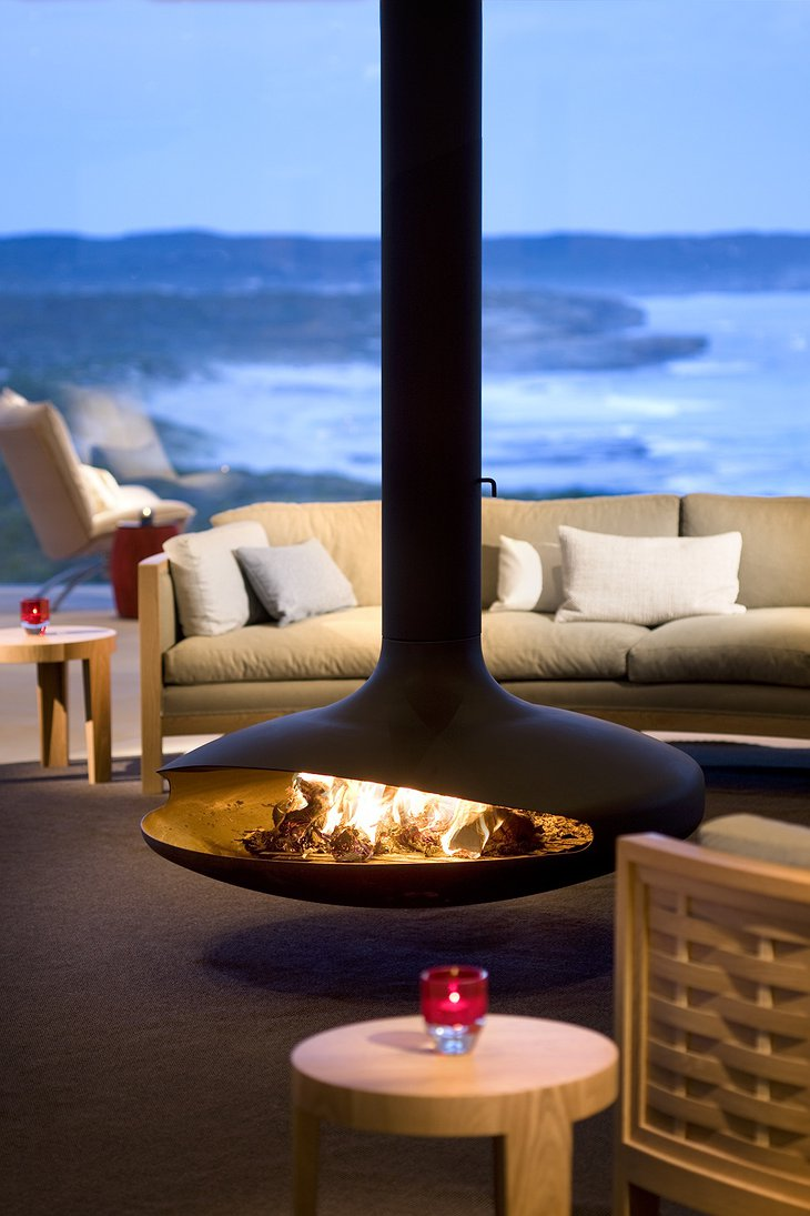 Southern Ocean Lodge fireplace