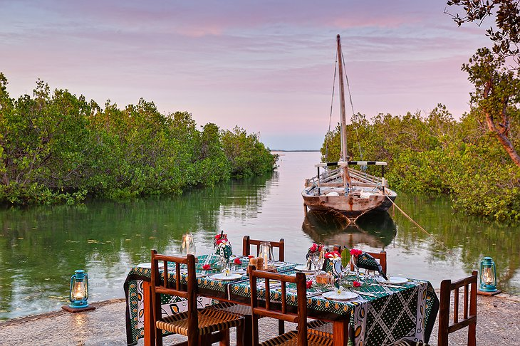 Chole Mjini Lodge dining at the boat
