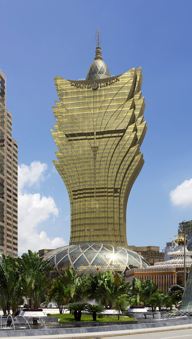 Grand Lisboa Macau building in sunshine