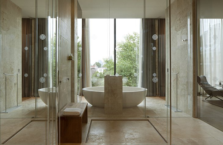 Conservatorium Hotel bathroom with large window