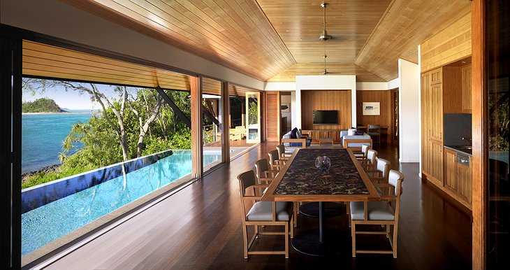 Qualia Hamilton Island dining room with swimming poolQualia Hamilton Island