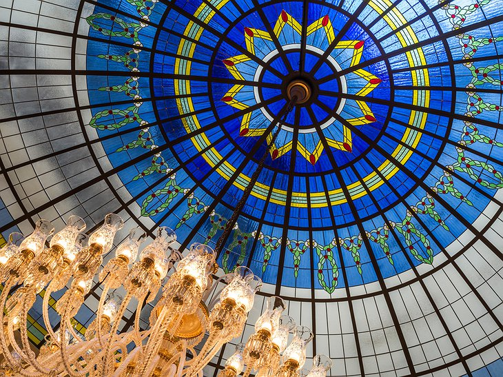 The Ritz-Carlton Hotel Budapest stained glass dome details