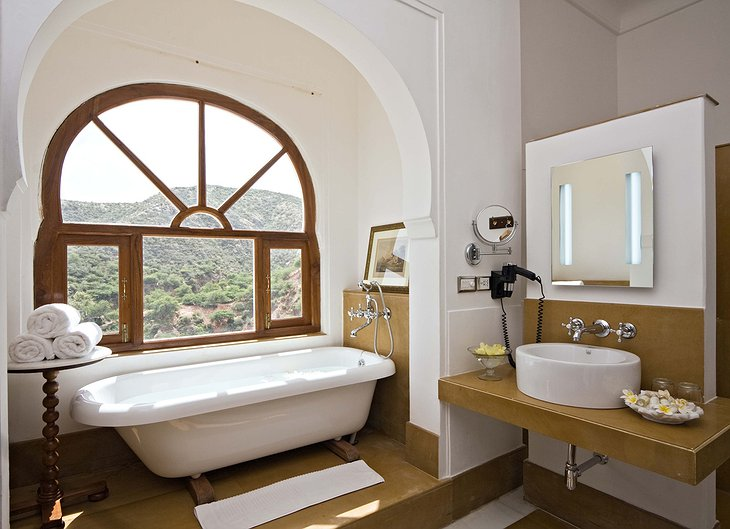 Samode Palace bathroom with nature views