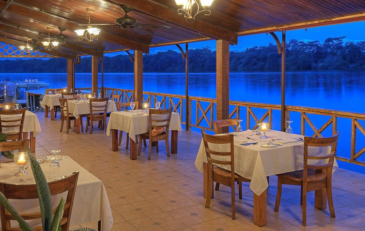 Tortuga Lodge restaurant at the river at night