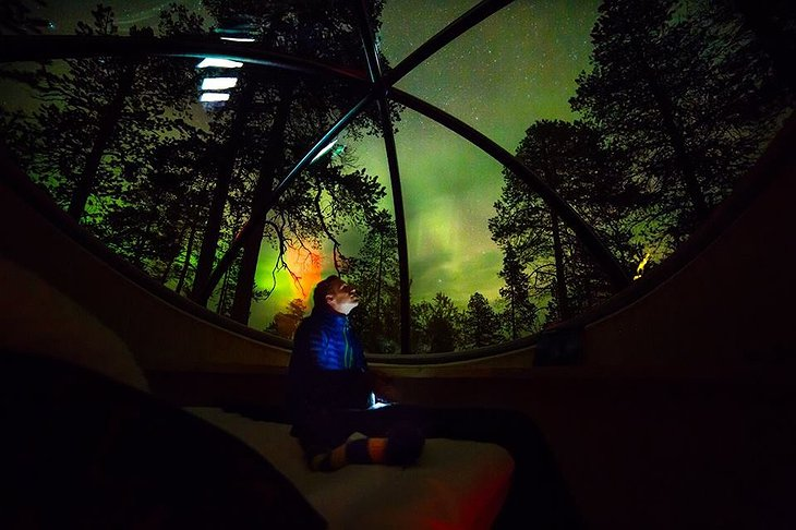 Inside the bubble at the Nellim Wilderness Hotel