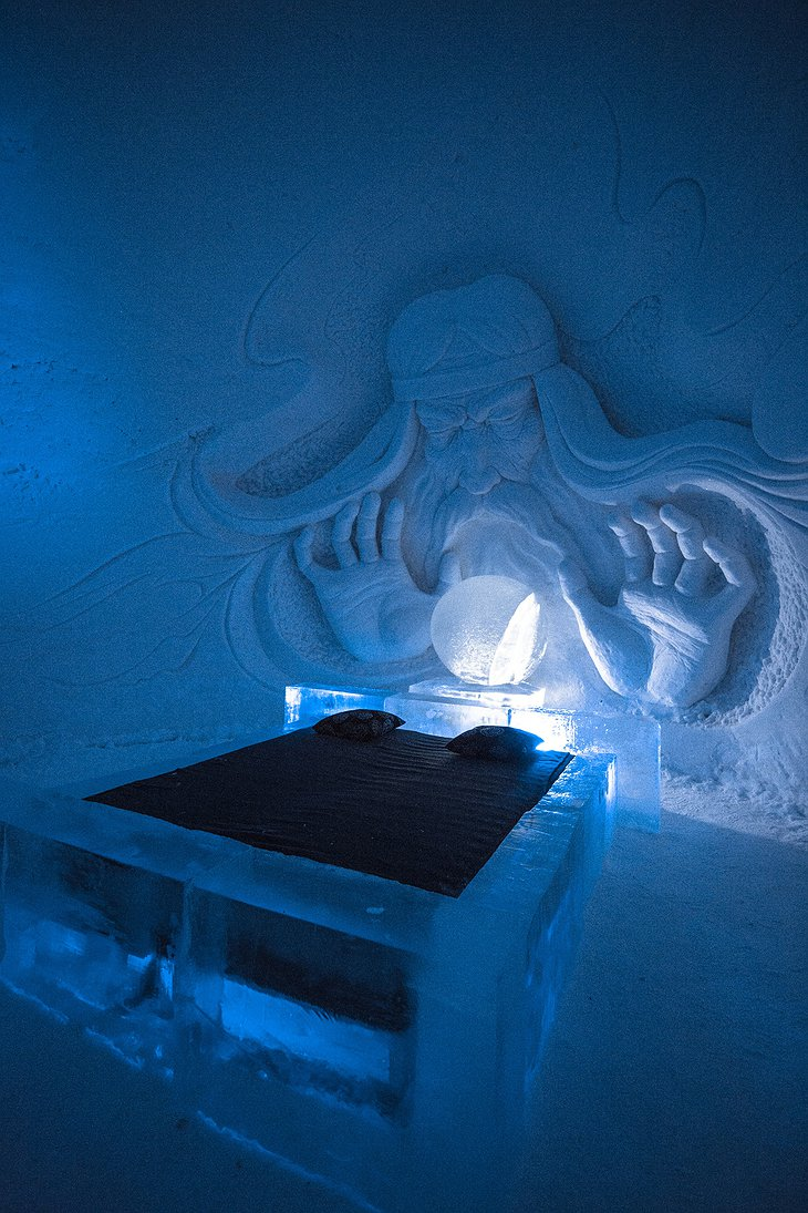 Lapland Hotels SnowVillage Magician Ice Bedroom