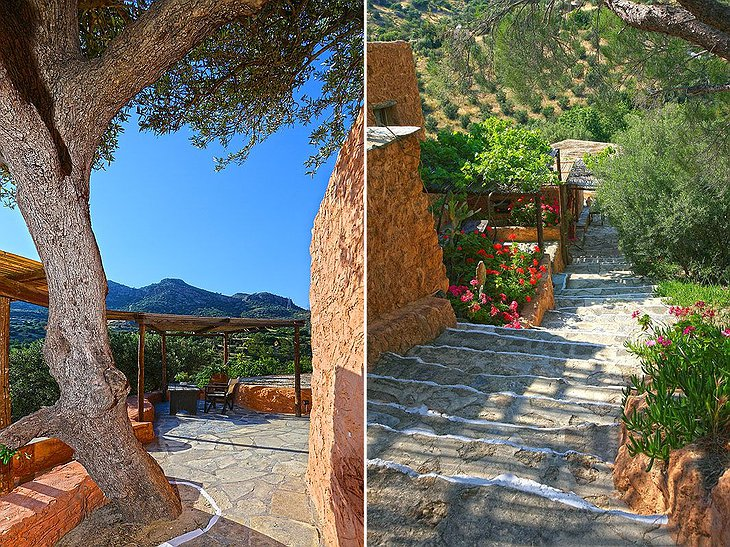 Stairs and terrace in Aspros Potamos Hotel
