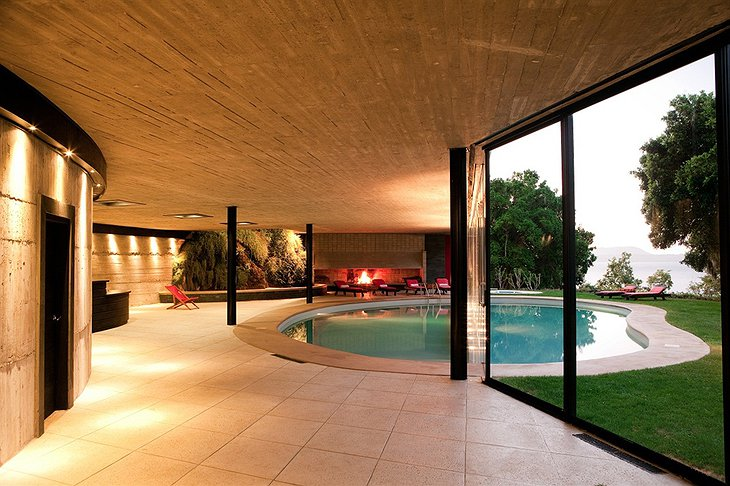 Split inside and outside swimming pool