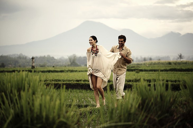 Sexy couple in the rice field