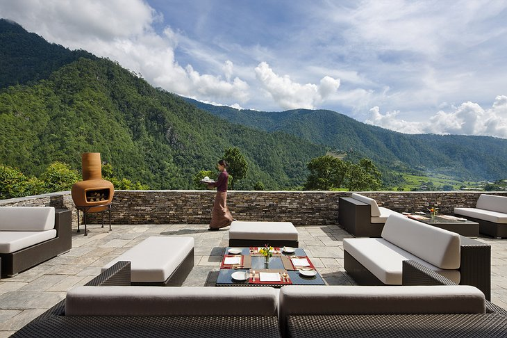 COMO Uma Punakha terrace with panoramic mountain views