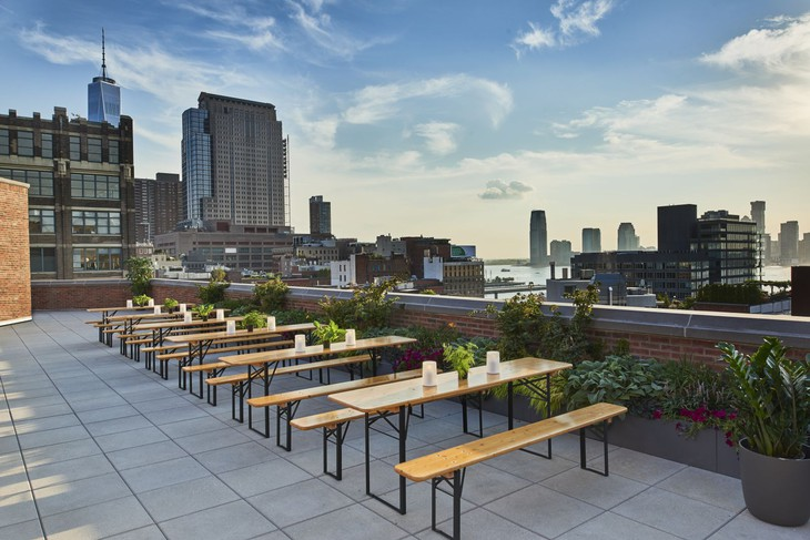 Arlo Hudson Square rooftop terrace with New York panorama