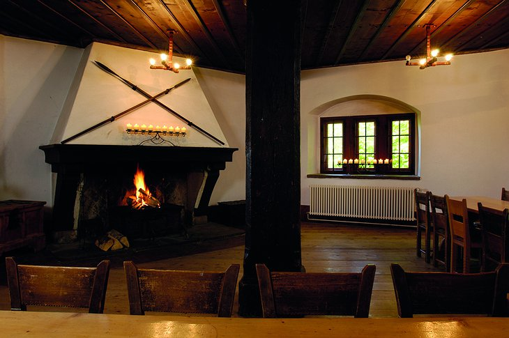 Youth Hostel Mariastein-Rotberg living room with fireplace