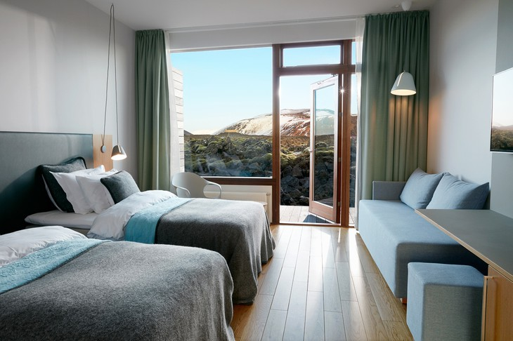 Silica Hotel bedroom with lagoon views