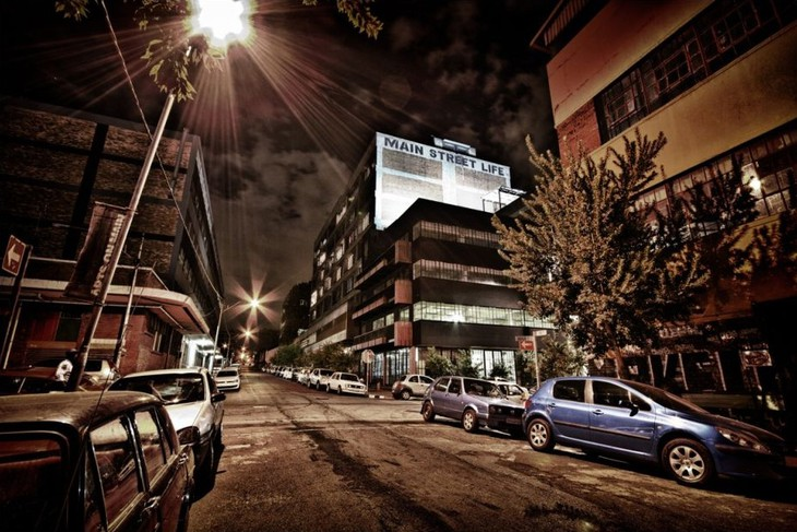 Maboneng district street at night in Johannesburg