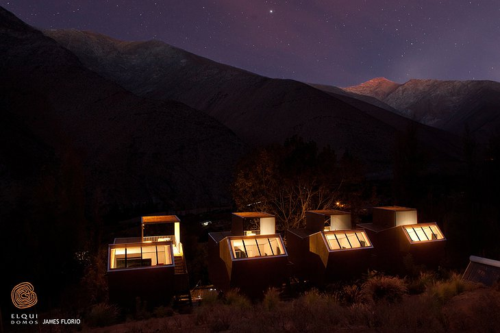 Elqui Domos wooden houses at night