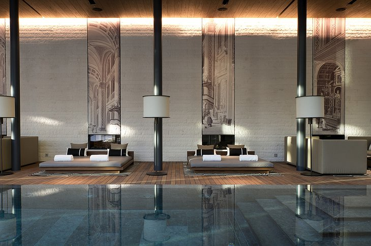 The Chedi Andermatt indoor pool lounges