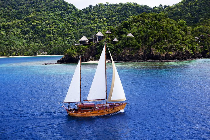 Sailing around the Laucala Island