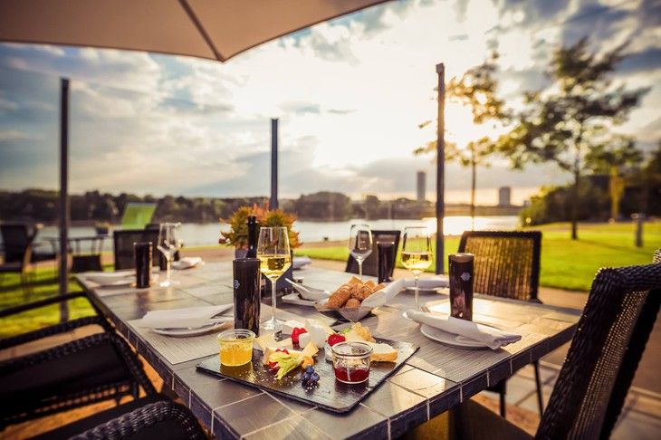 Kameha Grand Bonn dining with Rhine River views