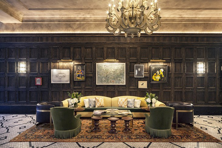 The Beekman Hotel yellow couch Barnes