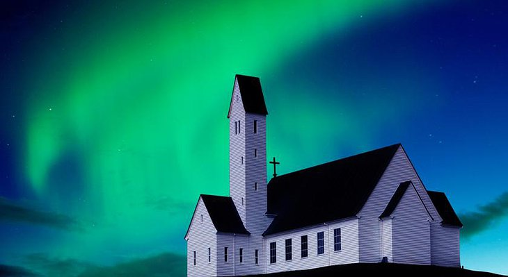 Icelandic church and northern lights