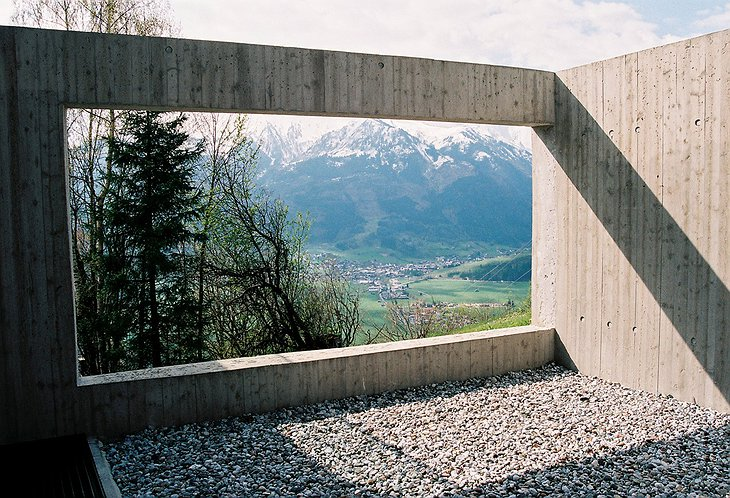 Aufberg 1113 concrete structure hole looking on the mountains