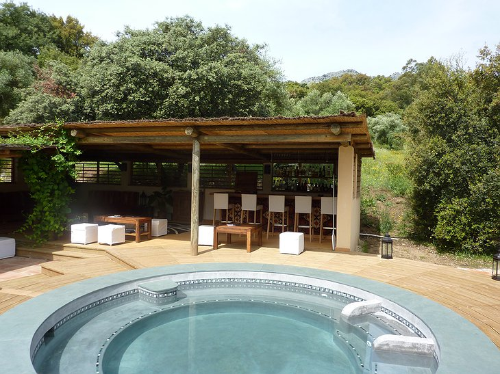 The Hoopoe Yurt Hotel plunge pool and bar