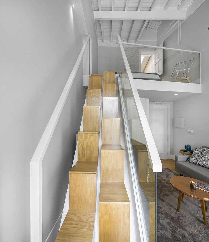 Casa do Juncal suite design wooden stairs