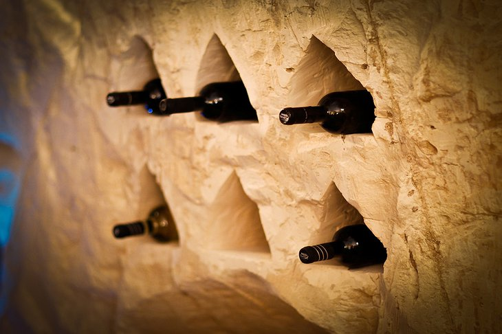 Wine holders in the cave