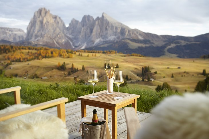 A drink with a view from the terrace in autumn