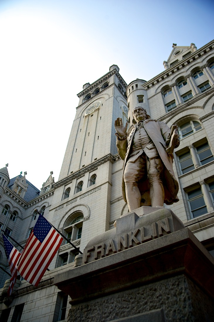 Trump International Hotel Washington building facade with American flag