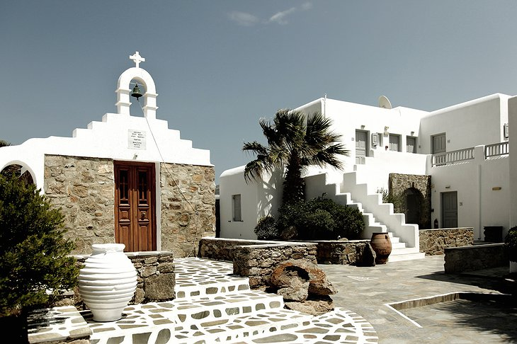 San Giorgio Mykonos whitewashed buildings