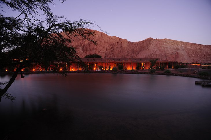 Alto Atacama hotel at night