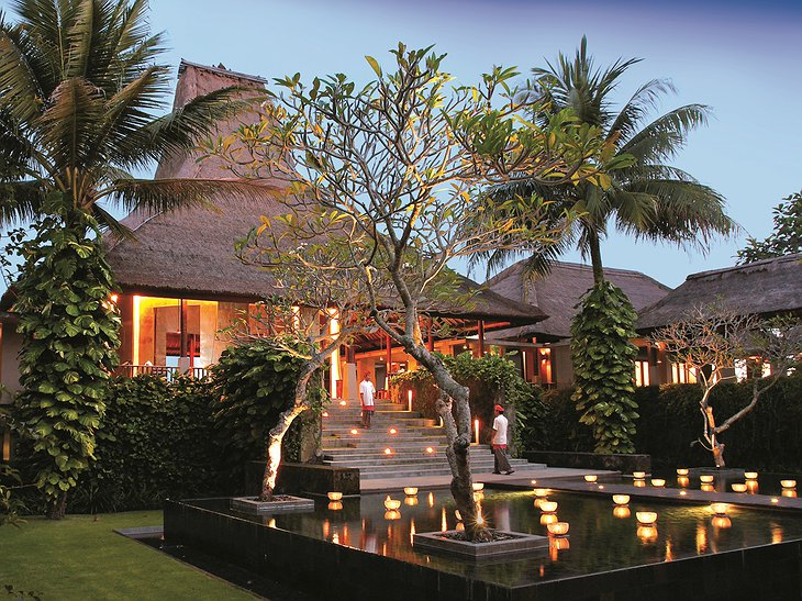 Maya Ubud Resort & Spa lobby exterior in the evening