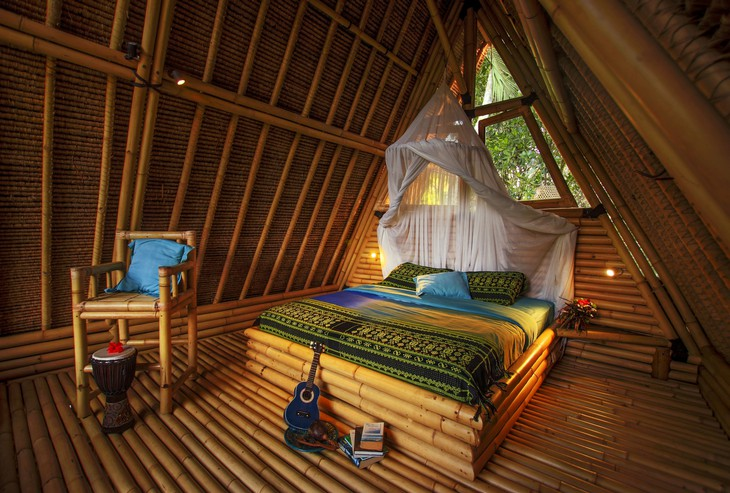Hideout Bali bamboo house bedroom