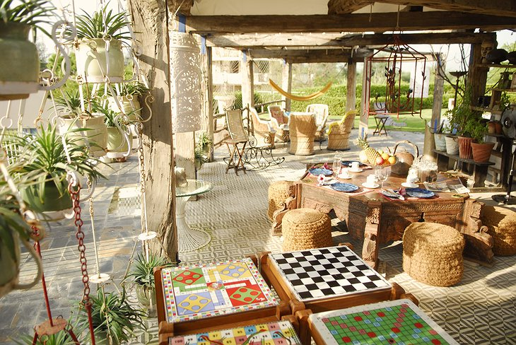 The Farm, Jaipur terrace with table games