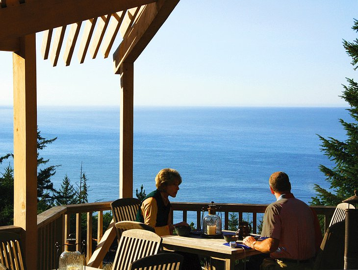 WildSpring Guest Habitat terrace with Pacific Ocean views