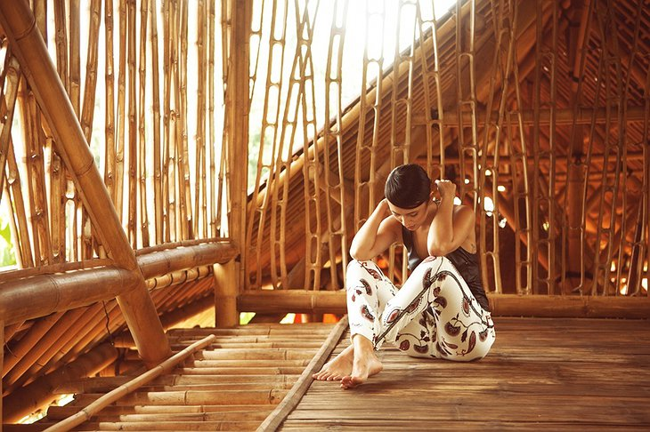 Girl in the bamboo hut