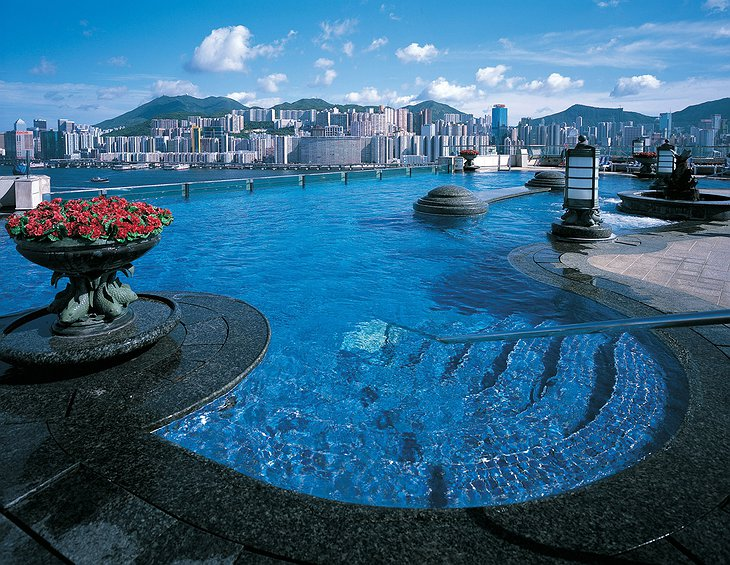 Harbour Grand Kowloon swimming pool and panorama on Hong Kong