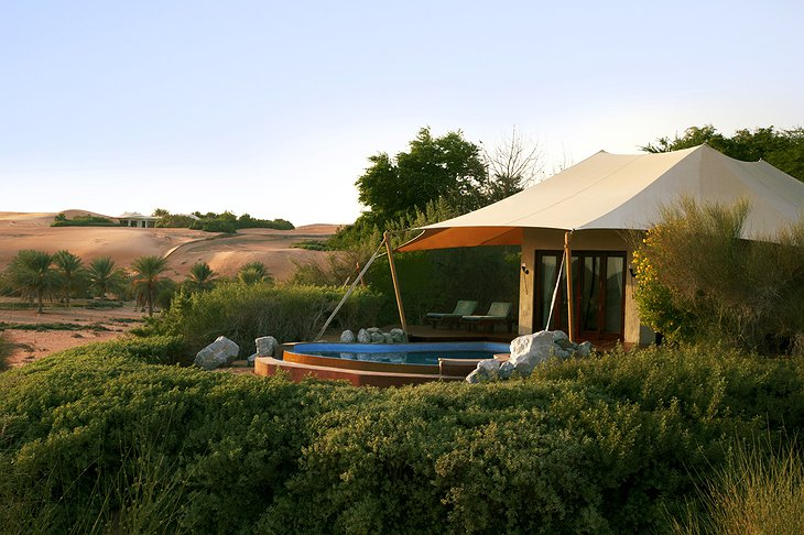 Tent with pool in the desert