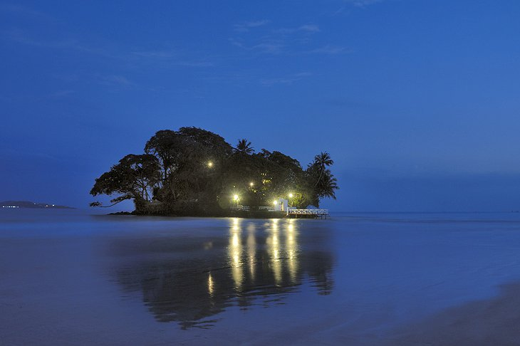 Taprobane Island villa at night