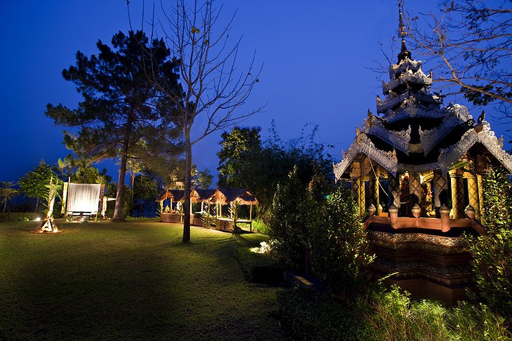 Northern Thai Sala at night