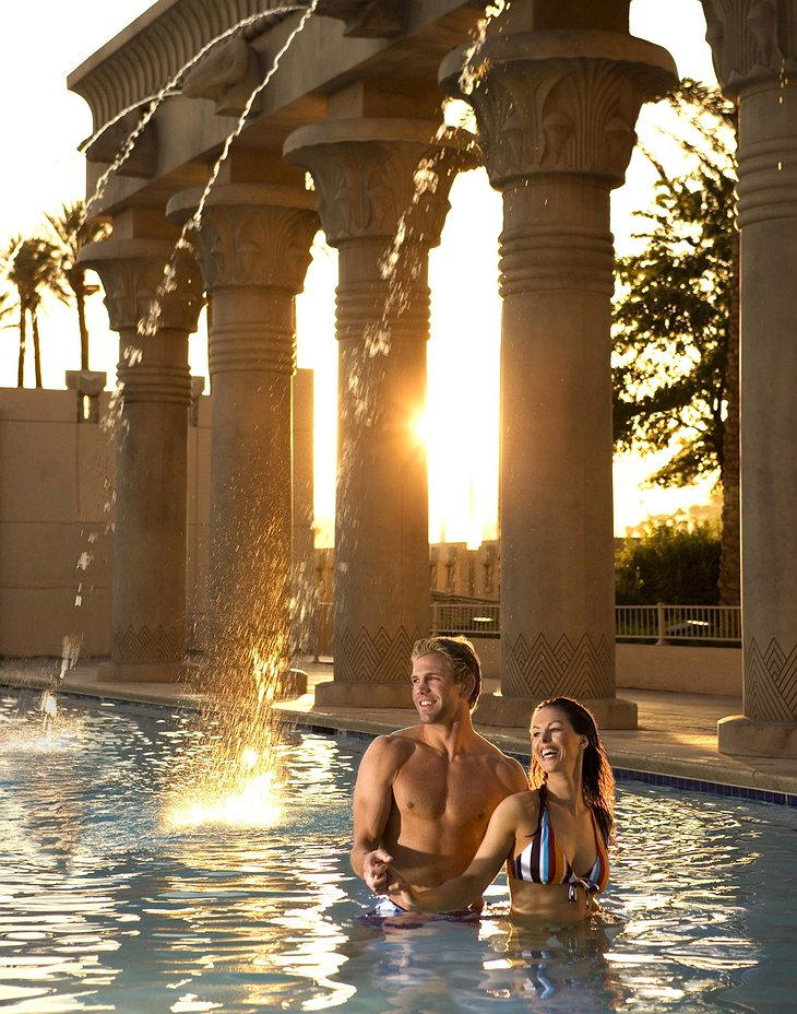 Couple in the pool of Luxor hotel
