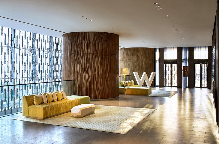 W Hotel Hong Kong foyer with huge W sign