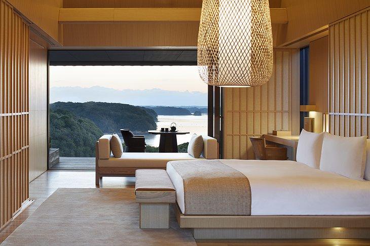 Amanemu Nagi suite bedroom with sea view