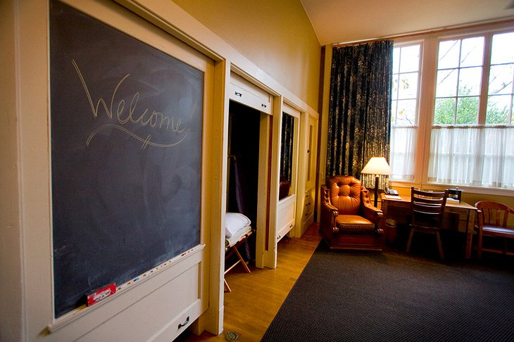 Kennedy School Hotel room with chalkboard