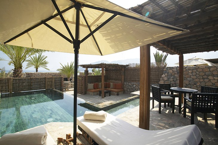 Six Senses Zighy Bay private terrace with swimming pool